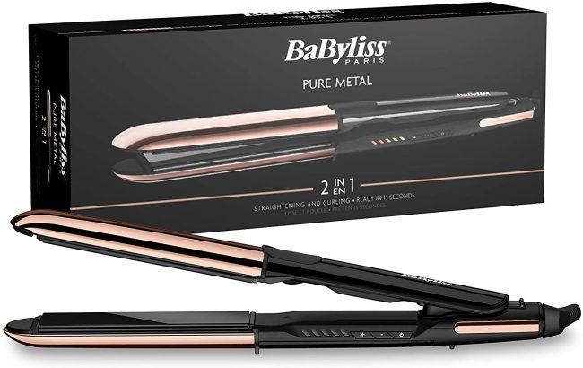 Plancha de pelo profesional, BaByliss ST481E Pure Metal – 2 en 1, alisa y ondula