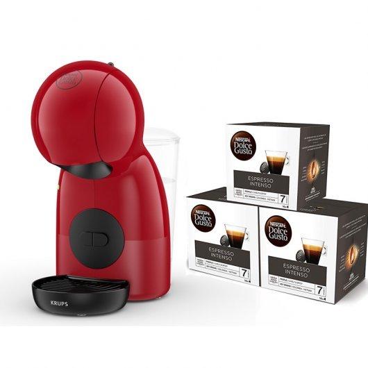Cafetera Nescafé Dolce Gusto Piccolo XS Roja + 3 Packs de Café Espresso Intenso