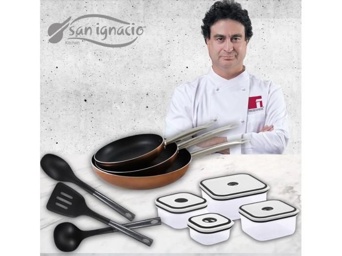 Set de 3 sartenes 4 fiambreras y 3 utensilios de cocina San Ignacio Professional