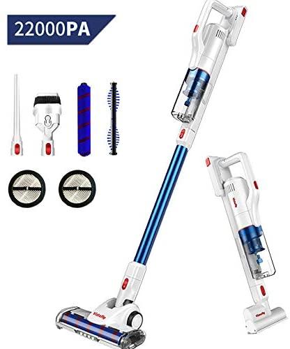 Vistefly V10 Aspiradora Escoba sin Cable, 22KPA,250W, Batería Extraíble y Autonomía 40 min, Aspiradora de Mano sin Bolsas 4 en 1, Filtro HEPA, Cabezal LED