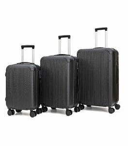 Juego 3 Maletas de Viaje Set Trolley ABS Semirigidas Candado 4 Ruedas – Negro