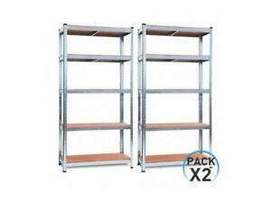 Pack 2 Estanterías Modulares Galvanizadas con 5 baldas ajustables.