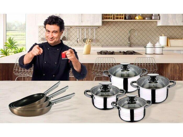 Set de 3 sartenes y batería de cocina de 8 piezas San Ignacio Pixel pro copper