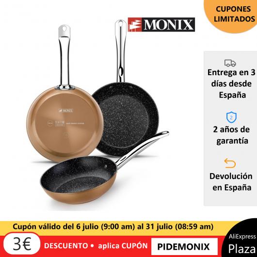 Monix Copper – Set 3 sartenes de aluminio antiadherente