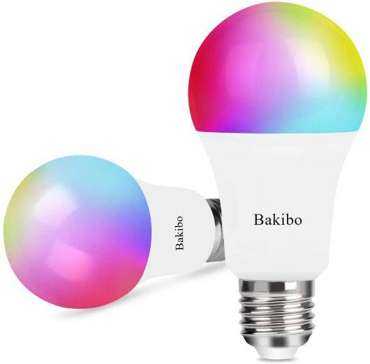 bakibo Bombilla LED Inteligente WiFi Regulable 9W 1000 Lm Lámpara, E27 Multicolor Bombilla Compatible con Alexa, Echo e Google Home, A19 90W Equivalente RGBCW Color Cambio Bombilla, 2 Pcs