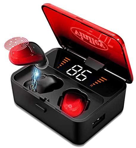 Auriculares Bluetooth 5.0 Cascos Inalámbricos Impermeable TWS HiFi Estéreo In-Ear Antirruido Autonomía 100H Control Táctil con Micrófonos con Caja de Carga para Smartphones, Rojo