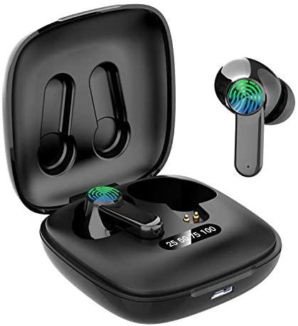 Auriculares Bluetooth, Auriculares inalámbricos Bluetooth 5.0 Sonido Estéreo con Micrófono Auricular Mini TWS In-Ear Auriculares Resistente al Agua con Caja de Carga para Correr Deporte,B12