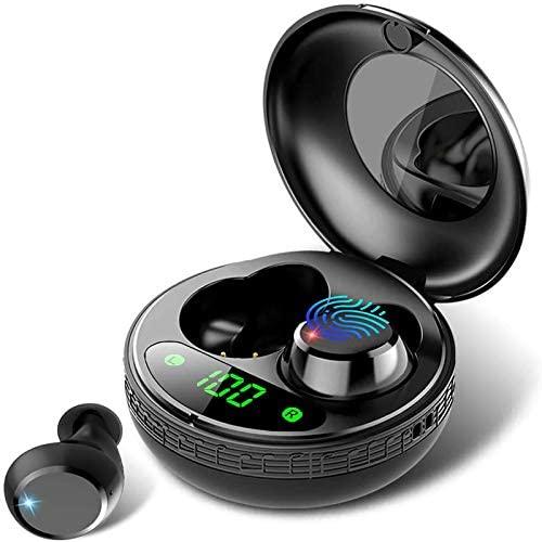 Auriculares Bluetooth, Auriculares Inalámbricos Bluetooth 5.0 con Mic, Auriculares Inalámbricos con Caja de Carga Portátil, Hi-Fi Estéreo, IPX7 Impermeable, Control Táctil, para iPhone y Samsung