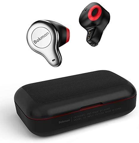bokman Auriculares Bluetooth, O2 Auriculares Inalámbricos Bluetooth 5.0 Half In-Ear Impermeable Control Táctil HiFi Mini Twins Estéreo con Caja de Carga Portátil y Mic para iPhone y Android