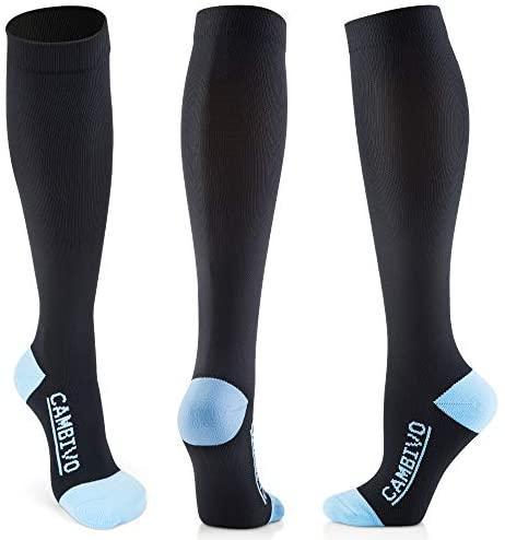 CAMBIVO 3 Pares Medias de Compresion Mujer y Hombre, Calcetines de Compresión para Running, Crossfit, Deporte, Ciclismo, Futbol, Enfermera, Volar