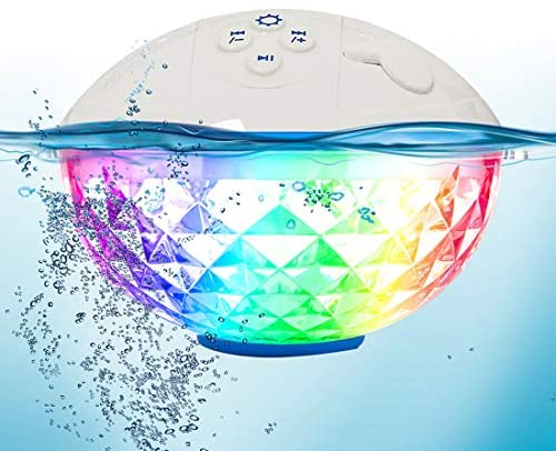 FirstE Altavoz Bluetooth Flotante con Luz de 7 Modos, Altavoz Portatil Bluetooth, Impermeable IPX7 Altavozs Inalámbrico, Manos Libres, Altavoz de Ducha para Piscina, Jacuzzi, Hogar, Aire Libre, Viajes