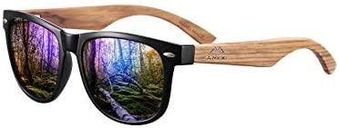 GreenTreen Gafas de Sol Polarizadas Hombre y Mujere, Gafas Ligeras con Patillas de Madera