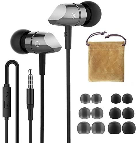 HIFI WALKER Auriculares in Ear, con Micrófono y Control Remoto, Incluye Bolsa de Transporte, Gris