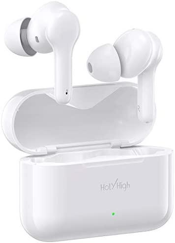 HolyHigh Auriculares Inalambricos, 【2020 Último Modelo】 Auriculares Bluetooth 5.0 con Microfono Estéreos Verdaderos, Auriculares Inalámbricos Deportivos con 30H Estuche de Carga