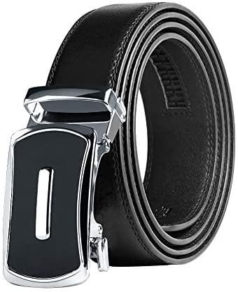 KEYNAT Cinturón Cuero Hombre con Hebilla Automática, 3.5 * 125cm Recortar para Ajustar Negro Cinturon Piel Genuino para Trajes de Negocios