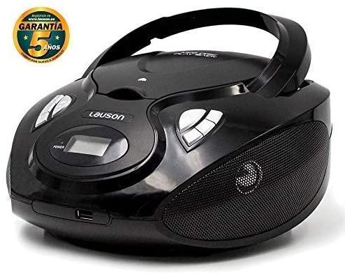 Lauson CP635 Radio FM Sintonizador Pantalla LCD y Reproductor de CD Portátil con USB  Lector USB para Reproducir Música MP3  CD Player con Salida de Auriculares 3.5mm Altavoces Incorporados (Negro)