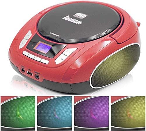 Lauson NXT962 Reproductor CD Portátil Luces LED Multicolor y Radio FM Digital y Pantalla LCD  Lector USB para Reproducir Música MP3  CD Player con Salida de Auriculares y Altavoces (Rojo)