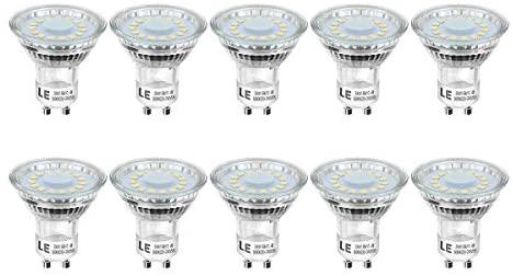 LE Bombillas LED GU10 4W, Equivalente 50W Halógena 350 lumen Blanco Frío 5000k, Ángulo de haz de 120°, Paquete de 10
