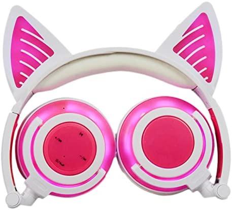 Limson BTR107 – Auriculares inalámbricos Bluetooth con micrófono y luz LED para niños, compatibles con teléfonos móviles, iPad, iPhone, ordenador portátil, ordenador portátil (3,5 mm), color rosa