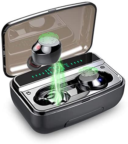 Motast Auriculares Inalámbricos Bluetooth 5.0, IP8 Impermeable Auriculares Bluetooth Deportivos, 3500mAh Estuche de Carga, Hi-Fi Estéreo Micrófono, Pantalla LCD, Control Tactil Auriculares Bluetooth