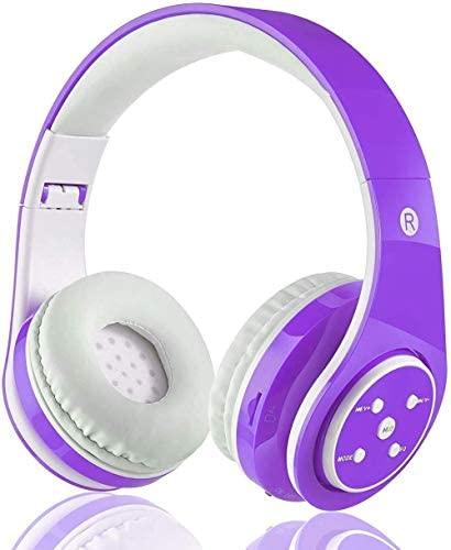 OXENDURE Auriculares Bluetooth inalámbricos incorporados Auriculares Recargables retráctiles para teléfonos Inteligentes con Tableta (Púrpura)
