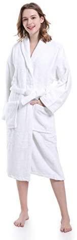 PimpamTex – Albornoz Unisex 100% Algodón con Cuello Tipo Smoking para Hombre y Mujer – (Talla M, Blanco)