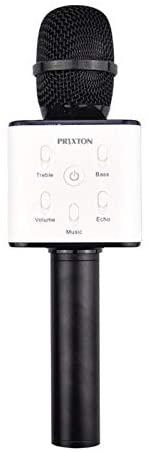 PRIXTON – Micrófono Inalámbrico Profesional, Funciona por Bluetooth y USB, Incluye 2 Altavoces y Función Karaoke, Color Negro