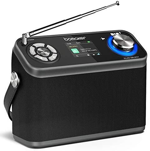 Radio Dab/Dab+/FM, BOMAKER Radio Portátil Digital con Batería Recargable Incorporado, Duración 12 H, Hi-Fi Altavoz de 8W, Temporizador, Despertador, Pantalla de Colores, Bluetooth 5.0, AUX, USB