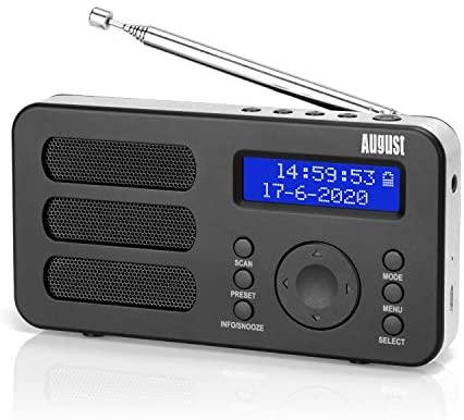 Radio Portátil Digital Dab/Dab+/FM – August MB225 – Radio Pequeña con Batería Recargable – Dual Alarma Despertador Snooze RDS 40 Presintonias Pantalla LCD Radio Estéreo/Mono