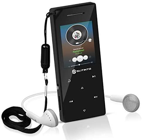 """Reproductor de MP3 con Bluetooth 4.0, Slitinto 8G HiFi sinportátil pérdida Reproductores música MP3 con botón táctil / 1.8""""TFT Pantalla, Altavoz, Radio FM, Grabadora de Voz, Ampliable hasta 128 GB"""