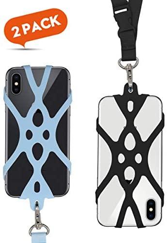 ROCONTRIP Funda de Silicona para Teléfono con el Cordón Manos Libres para el iPhone 6 6S 6 Plus iPhone 6S Plus, iPhone 7 y 7 Plus, Samsung, de 4.7-5.5 Pulgadas (Brazalete Negro)