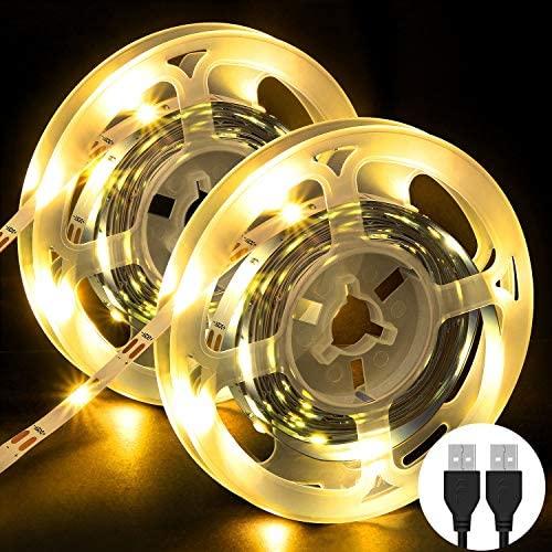 Tira LED, OMERIL 6M Tiras LED SMD 2835, Tira LED TV USB con Amarillo Cálido 3000K, Tiras de Luces Iluminación para Cocina, Armario, Escaleras, Dormitorio, Habitacion, Comedor, Bar, Fiesta, TV (2x3M)