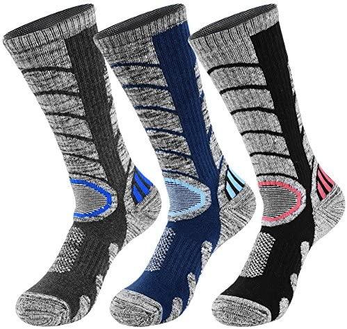 VBIGER 3 pares Calcetines de Invierno Térmico para Hombre Largo Algodón Calcetines de Deportivos Esquí Senderismo Ciclismo