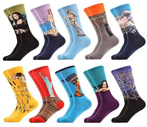 WeciBor Calcetines Hasta La Hombre Estampados Hombres Ocasionales Calcetines Divertidos Impresos de Algodón de Pintura Famosa de Arte Calcetines Calcetines de Colores de moda