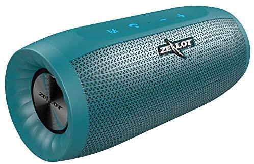 ZEALOT S16 Altavoz Bluetooth, Portátil, 20W estéreo, Sonido 360º Envolvente, 2 subwoofers. con 4000mAh batería powerbank, 24 Horas de Reproducción. Impermeable, Manos Libres(Azul)