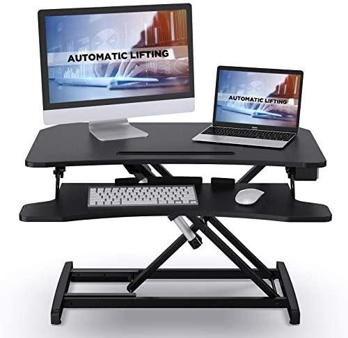 ABOX Escritorio Eléctrico de Pie, Mesa Escritorio Altura Ajustable con un Toque, Elevación Estable Sin Ruido, con Bandeja de Teclado Extraíble y Interfaz USB, Tablero de Mesa 85 x 51cm, Negro