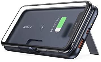 AUKEY Cargador portátil 10000 mAh, Cargador inalámbrico con Soporte de Plegable Pata, batería portátil con PD 3.0 Carga rápida 3.0, Paquete de batería Externa USB-C de 18 W para iPhone 11/11 Pro&More