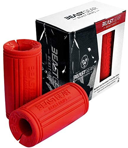 Beast Gear Mango para Mancuernas Adaptador Barra Gruesa para Pesas/Thick Grip para Aumentar tu Masa Muscular en Tus Brazos y Mejorar el Agarre
