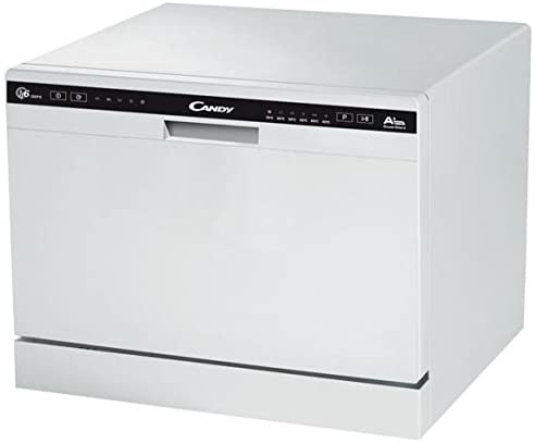 Candy CDCP 6/E – Lavavajillas pequeño, Altura 43,8 cm, 6 servicios, 6 Programas, Sistema antidesbordamiento, Inicio diferido, Clase A+A, 51dB, Color Blanco