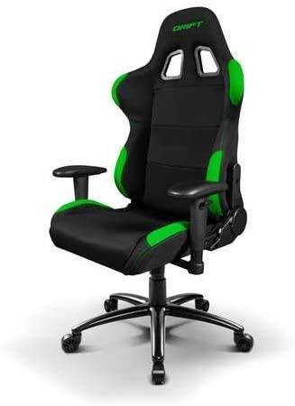 Drift DR100BG – Silla Gaming Profesional, (Tela Alta Calidad, Ergonómica), Color Negro/Verde