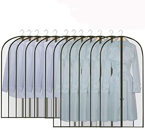 GoMaihe Fundas de Ropa 12 PCS, 60 x 120 / 100cm Bolsa de Traje Transparente Bolsas de Ropa, Repelente al Agua, Blanco