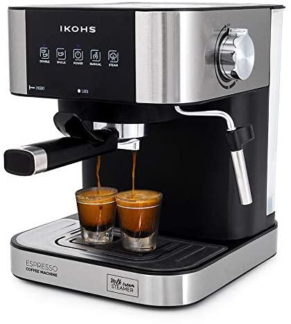 IKOHS Cafetera Expresso Automática TAZZIA – Cafetera Espress para Espresso y Cappuccino, 20 Bares, 1100 W, 1,5 litros, Vaporizador Orientable, Doble Salida, Regulador de Presión (Gris – TAZZIA Aroma)