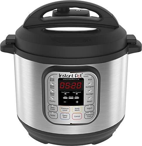 Instant Pot IP – DUO60, Olla de presión programable 7 en 1, 5.7L / 1000W 220V, tecnología de tercera generación, bol de cocina y exterior en acero inoxidable – versión inglesa