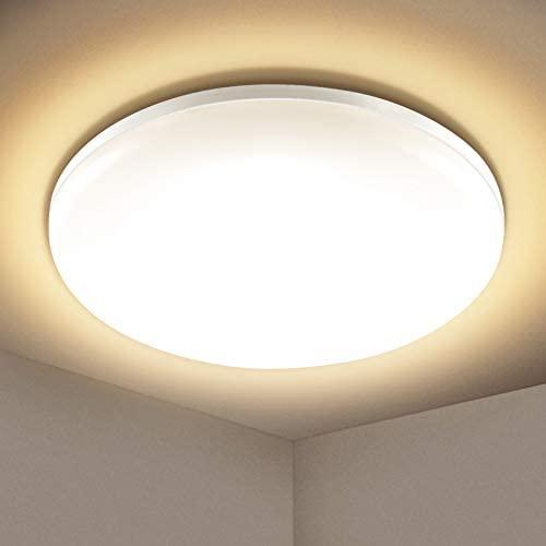 Lámpara de Techo LED 24W, Elfeland Plafón LED Techo Baño 3000K 2200LM Impermeable IP54 Equivalente 150W Blanca Cálida Luz de Techo Led Moderna para Cocina Salón Dormitorio Balón Pasillo Comedor