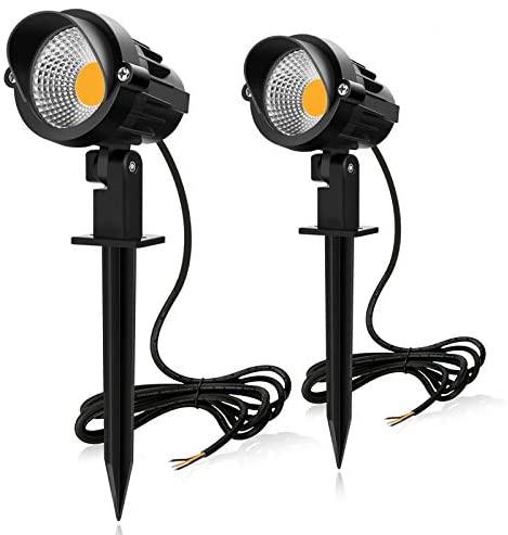 MEIKEE 2PCS Foco Proyector Exterior 7W LED Lámpara de Césped con Espica Impermeable IP66 Focos de Jardín con Pincho 800lm Blanco Cálido Luz de Jardín Suelo Caminos Paisajes Decoración(85V-265V)