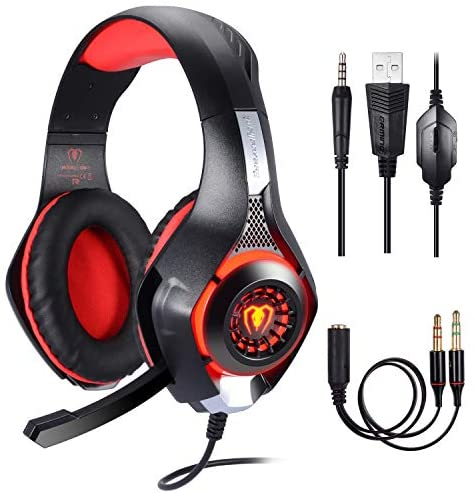 Samoleus Cascos Gaming PS4 PC Xbox One, Gaming Auriculares con Microfono, , Cascos Gamer, Headset Cascos Jack 3.5mm, Luz LED con Switch, Laptop, Playstation 4