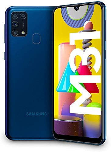 "Samsung Galaxy M31 – Smartphone Dual SIM, Pantalla de 6.4"" sAMOLED FHD+, Cámara 64 MP, 6 GB RAM, 64 GB ROM Ampliables, Batería 6000 mAh, Android, Versión Española, Color Azul"