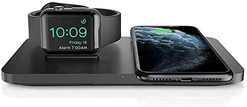 Seneo Cargador Inalámbrico Rápido – 7.5W Cargador Doméstico 2 en 1 para iPhone 8 a iPhone 11 Pro y AirPods Pro, Soporte de Carga Inalámbrico para Apple Watch Series 5/4/3/2