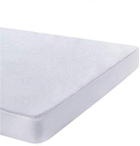 UMI. Essentials – 2 X Protector de colchón de Rizo algodón Impermeable y Transpirable – 90 x 200 cm