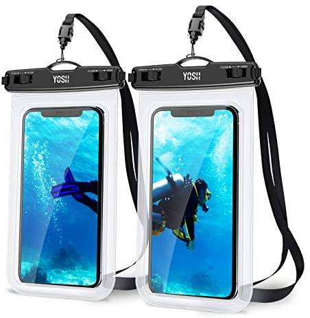 YOSH Funda Impermeable Móvil Universal 2 Unidades, Bolsa para Móvil Estanca a Prueba de Agua IPX8 para iPhone 12 Pro XS MAX XR X 8 7 6s 6 Plus SE 5s XiaoMi RedMi Samsung Huawei hasta 7´´